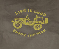 NWT Men's Life Is Good Enjoy The Ride Jeep 4x4 Brown SS Crusher Tee