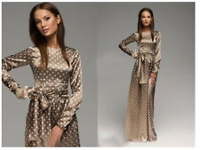 Women's Full length Dress Polka Dot Long Sleeve Cacktail Evening Dress S-XXL