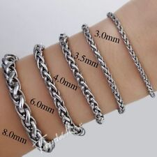 Silver Tone WHEAT BRAIDED Stainless Steel Bracelet Mens Boys Chain Fashion Gift