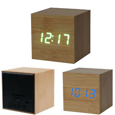 1PC Digital LED Bamboo Wooden Wood Desk Alarm Brown Clock Voice Control Trendy