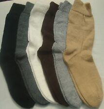 NEW, 100% ALPACA WOOL YARN SOCKS, PLAIN NATURAL COLORS, SZ 7 TO 9, ANDEAN, WARM