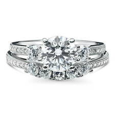 BERRICLE Sterling Silver 2 Carat Round CZ 3-Stone 5-Stone Engagement Ring Set