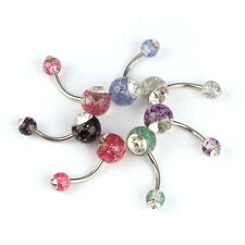 Navel Belly Button Ring Barbell Rhinestone Crystal Ball Piercing Body Pop