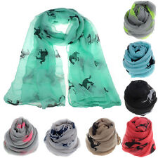 Fashion Women Running Horse Print Long Scarf Shawl Wrap Stole Voile Pop