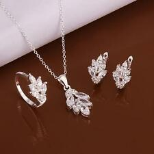 women 925 Sterling Silver Plated Crystal leaf Necklace Earrings Ring Jewelry Set