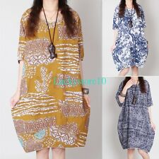 New Casual Women Round Neck Short Sleeve Cotton linen Ethnic Loose Dress M-XL