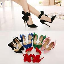 Elegant Lady Bow-tie Shaped Ankle Strap Suede Stilettos High Heels Wedding Shoes