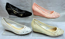 LADIES CASUAL LACE WEDGE COURT SHOES,BLACK WHITE PINK BEIGE SIZES 3-8 MB1882