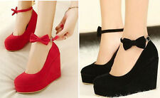 Ladies Womens Platform Pumps Wedge High Heels Bowknot Ankle Strap Bridal Shoes