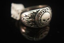Harley Davidson Men's .925 Silver Willie G Skull With Flames Ring  9 11 13 15