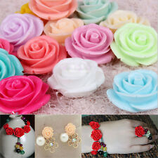 Hot 15/30pcs Mixed Resin Rose Flower Flatback Appliques For Phone/Nail/Craft DIY