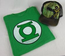 Mens DC Comics Superhero Green Lantern Logo T-Shirt & Trucker Hat Combo S-2XL