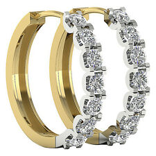 Excellent Hoops Huggie Earrings VVS1/D Natural 1.20Ct Diamond 14Kt Two-Tone Gold