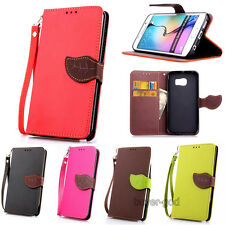 Dual Color leaf Wristlet Card Flip leather stand case cover For Samsung Galaxy
