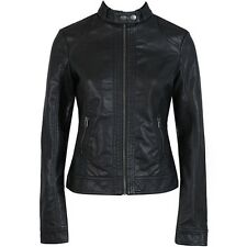 Lady's Women's Slim Fit PU/Faux Jacket Leather Motorcycle Coats Black Outerwear
