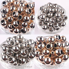 Hot Wholesale 50/100Pcs Golden Silver Plated Big Hole Spacer Bead 10/12/14MM
