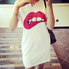 New Women's Short Sleeve Sequins Lip Casual T-Shirt Long Tops Casual Mini Dress