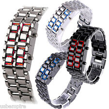 Lava Iron Samurai LED Digital Faceless Metal Bracelet Wrist Watch Gift Unisex