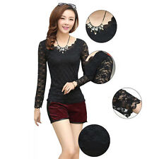 New Fashion Korea Style Sexy Women's Lace Long Sleeve T Shirt Slim Cute Blouse