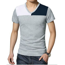Man V Neck Short Sleeves Form-fitting Color Block Casual Top