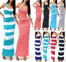 USA SELLER! TIE DYE STRIPED SOLID FITTED TANK RIBBED MAXI SKIRT LONG DRESS S M L
