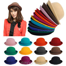 Elegant Lady Vogue Vintage Women's Wool Cute Trendy Bowler Derby Hat Fashion