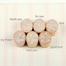 Handwriting Blessing Round Wooden Rubber Stamps Floral Choosing Words Hot Sale
