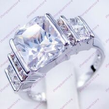 Jewelry Fashion Rings Size 6/7/8/9/10 White Sapphire Gems 10K White Gold Filled