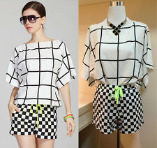NEW Batwing Short Sleeve Plaid Checked Chiffon T Shirt Blouse+Hot Pants Set Suit