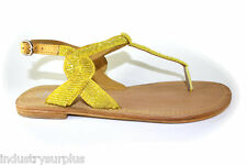 Charles by Charles David Yojana Yellow Leather Buckle Up Flats Sandals
