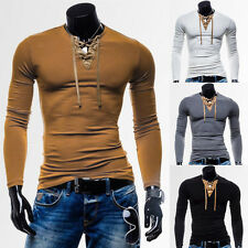 NEW DESIGN Mens Casual T-Shirts LACE UP V NECK Pop Stylish Long Sleeve XS S M L