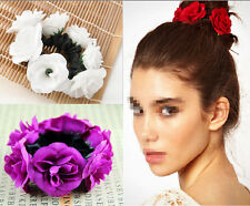 Flower Hair Bun Garland Floral Head Knot Hair Top Band Elastic Accessories EY
