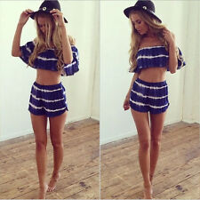 Summer Women 2 Piece Sport Outfit Cotton Boat Neck Crop Top+Short Pant Jumpsuit