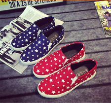 Women Girl Canvas Flat Low Top Casual Sneakers Elastic Athletic Shoes Red/Blue #