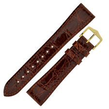 Hirsch GENUINE CROCO Shiny Crocodile Leather Watch Strap and Buckle - GOLD BROWN