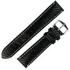Hirsch RIVETTA Wooden Effect Calf Leather Watch Strap and Buckle in BLACK