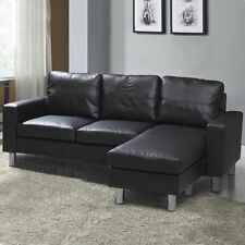 Modern Small 3 Seater L Shaped Corner Sofa Couch Black Faux Leather Grey Fabric
