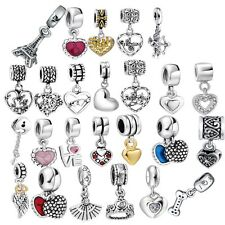 Heart Love Pendant Beads Fit European Charms 925 Silver Sterling Bracelets Chain
