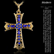 Retro Cross Hot Gold Crystal Pendant Choker Perfect Sweater Necklace Chain