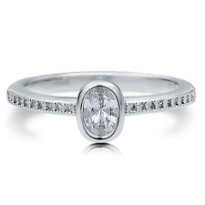 BERRICLE Sterling Silver Oval CZ Solitaire Promise Engagement Wedding Ring