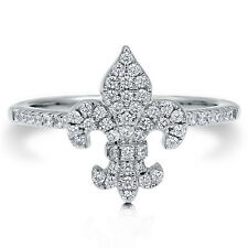 BERRICLE Sterling Silver CZ Fleur De Lis Fashion Right Hand Ring