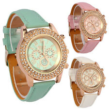 Women Watch Vogue Ladies Crystal Dial Quartz Analog Leather Bracelet Wrist Watch