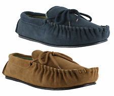 Mens LodgeMok Real Genuine Suede Moccs Moccasins Slippers Sizes 7 to 12
