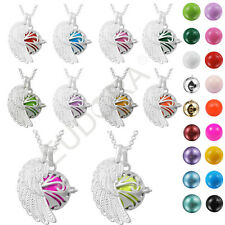 Silver Mexican Bola Cage Angel Wing Maternity Harmony Bola Chain Necklace