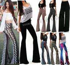 USA MADE HIGH WAIST LONG FLARED WIDE LEG PALAZZO BELL BOTTOM YOGA PANTS S M L XL