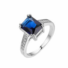 Jewelry Fashion Ring Size 6-10 Blue CZ Gems Womens White Gold Filled Engagement