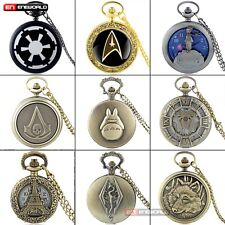 Luxury Glossy Smooth Pocket Watch Roman Gold Dial Quartz Necklace Pendant Chain