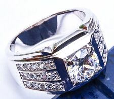 HEAVY MEN'S GIFT! 3 CARAT Russian CZ .925 Sterling Silver Ring Sizes 8-12