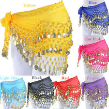 Colorful Belly Dance Costume Hip Scarf Skirt Bead Gold Coin Dancer Dancing Wrap