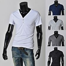 Men's Casual V-neck Solid T-Shirt Slim Trend Skull Button Shirt Tee Top M-XXXL